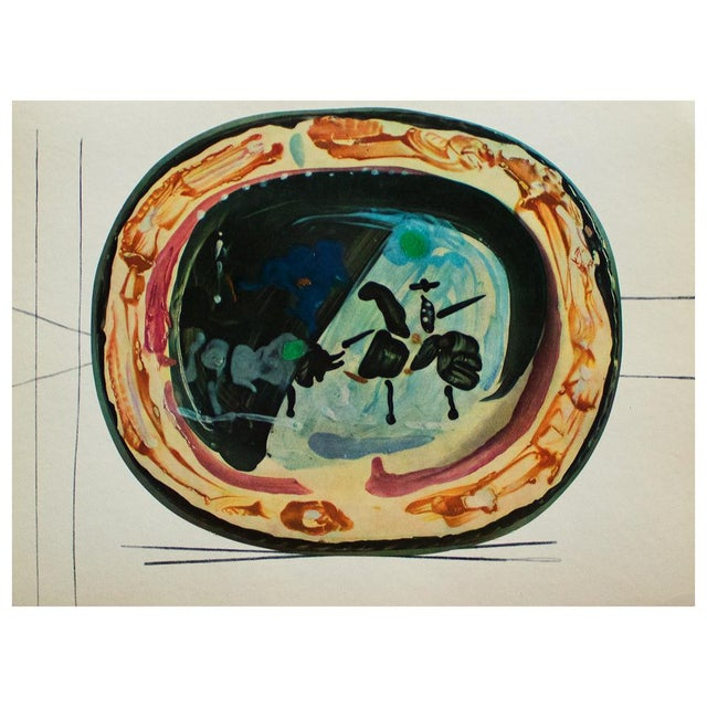 1955 Pablo Picasso, Picador and a Bull Ceramics Plate, Original Period Swiss Lithograph For Sale In Dallas - Image 6 of 6