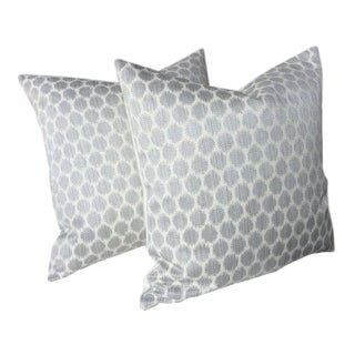 "Jane Churchill for Cowtan & Tout ""Patino"" Silver Pillows - A Pair"