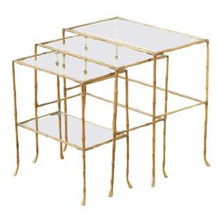 Maison Baguès Style Bronze Nesting Drink Tables - Set of 3 For Sale