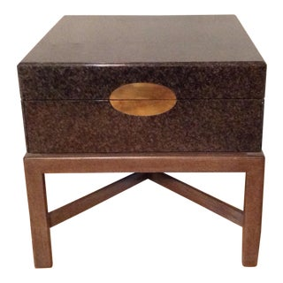 Large Marge Carson Green Cream Lacquer End Table For Sale