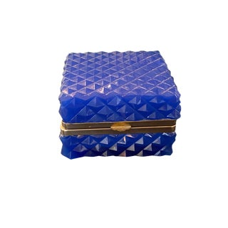 French Blue Opaline Diamond Quilted Glass Dresser Box For Sale