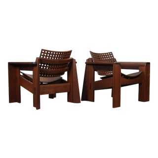 Pair of Solid Walnut Lounge Chairs For Sale