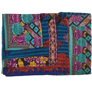 Heavier Weight Jewel Tone Vintage Kantha Quilt For Sale