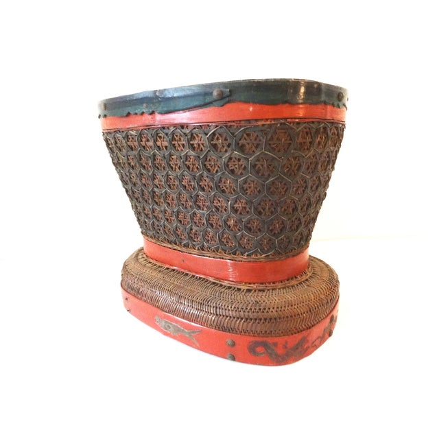 Asian Antique Red & Brown Chinese Wedding Basket For Sale - Image 3 of 7