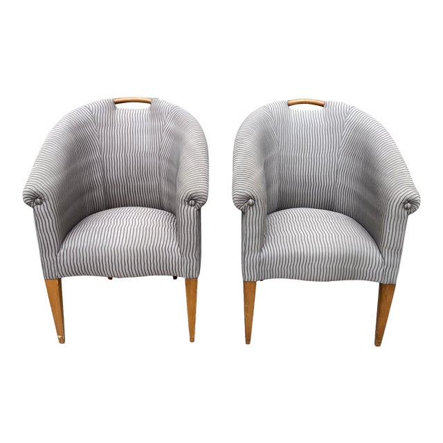 John Hutton for Donghia Plato Mod Barrel Chairs - a Pair For Sale