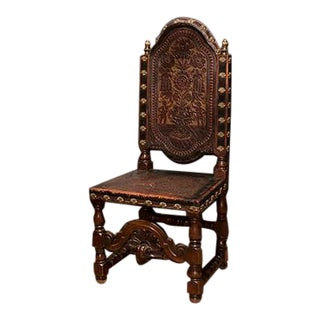 Italian Walnut and Embossed Leather Armchair For Sale
