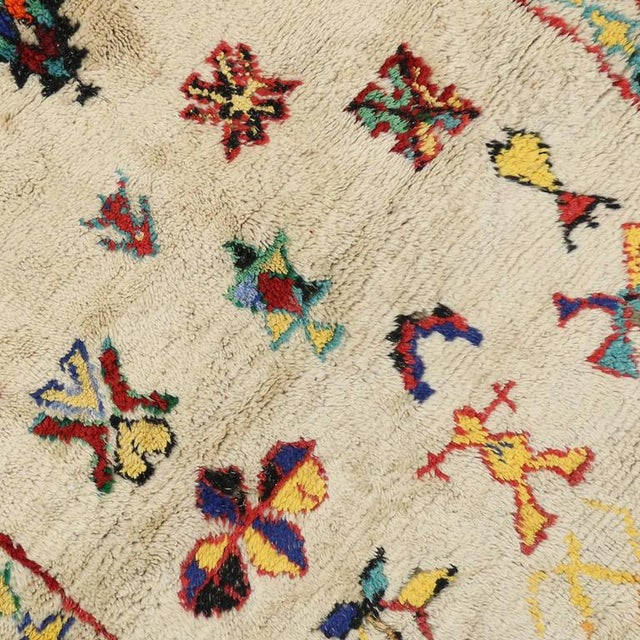 Berber Tribes of Morocco Vintage Berber Moroccan Azilal Rug - 4'3 X 5'00 For Sale - Image 4 of 7