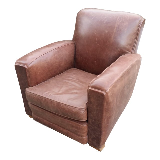 Art Deco Style Leather Club Chair - Image 1 of 7