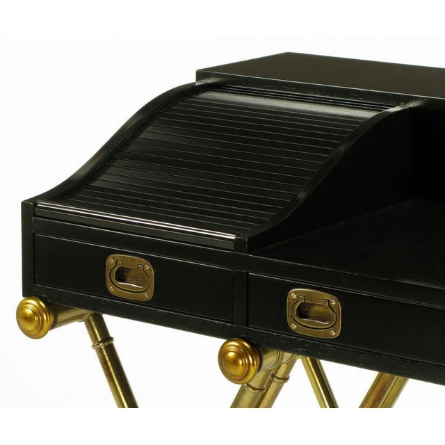 1960s Black Lacquer Brass Faux Bamboo Base Campaign Secretary Roll Top Style Desk For Sale - Image 5 of 7