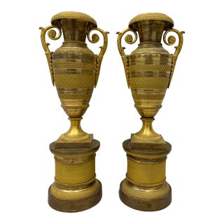 Pair of 19th Century Gilded Brass Urns For Sale