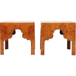 Drexel Burl Silhouette Occasional Tables - a Pair For Sale