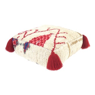 Abstract Vintage Moroccan Pouf For Sale