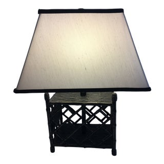 Chippendale Style Faux Bamboo Table Lamp With Custom Shade For Sale