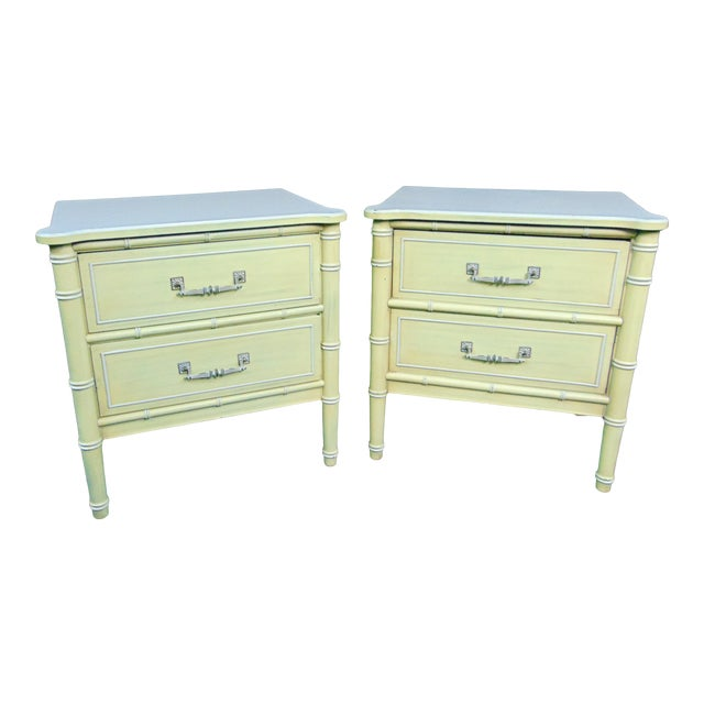 Hollywood Regency Style Cream & Yellow Faux Bamboo Nightstands - a Pair For Sale