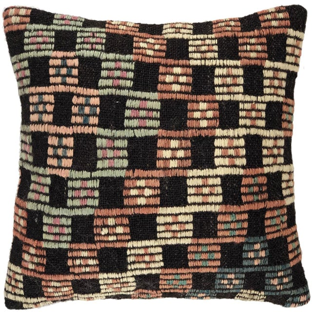 "Turkish Pastel Kilim Pillow | 16"" For Sale - Image 3 of 3"