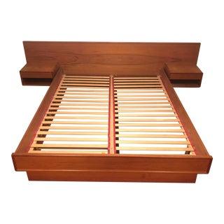 Mid-Century Modern Teak Queen Storage Bed W/ Nightstands For Sale