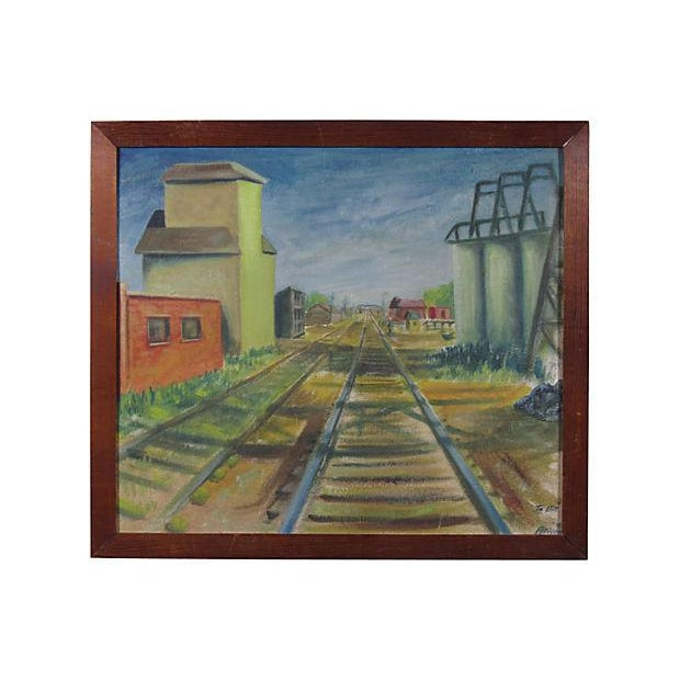 "Early 20th Century ""Railroad Tracks"" Oil Painting - Image 2 of 5"