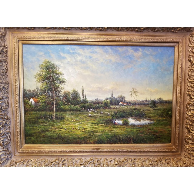 Mid 20th Century Large Dutch School Landscape Oil Painting on Canvas by Jack Lanze For Sale - Image 5 of 8