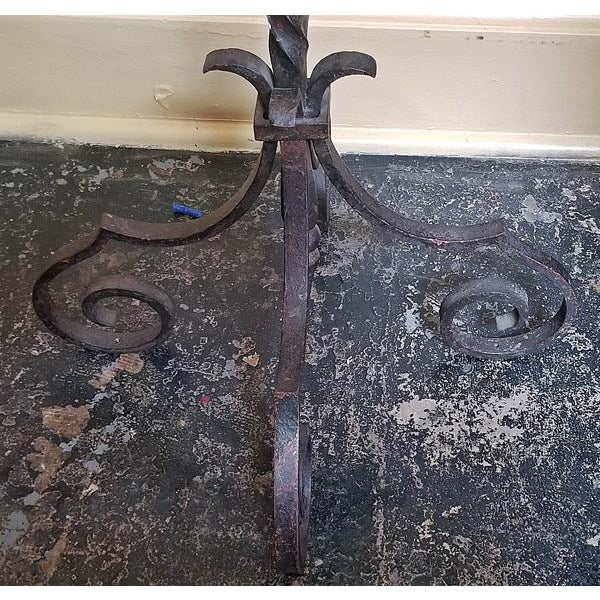 18c Spanish Cast Iron Floor Candelabra - Image 4 of 10