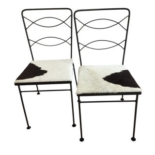 Mid-Century Modern Cowhide and Iron Chair-A Pair For Sale