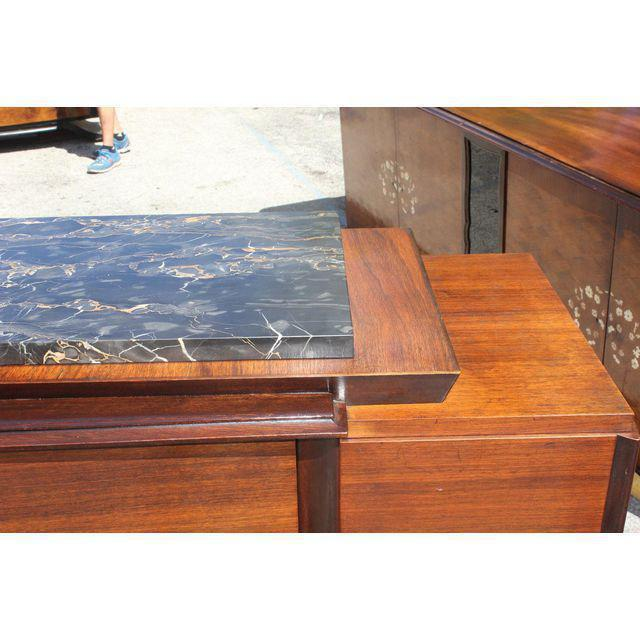 1940s Art Deco Exotic Macassar Ebony Marble Top Sideboard For Sale In Miami - Image 6 of 12