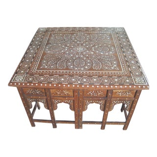 Bone Inlay Collapsible Square Coffee Table