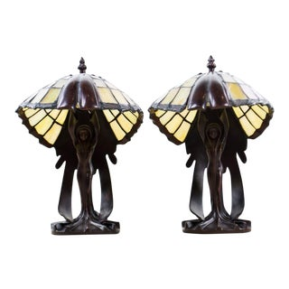 "1970s Art Nouveau Tiffany Style ""Flying Lady"" Bronze Table Lamps - a Pair For Sale"