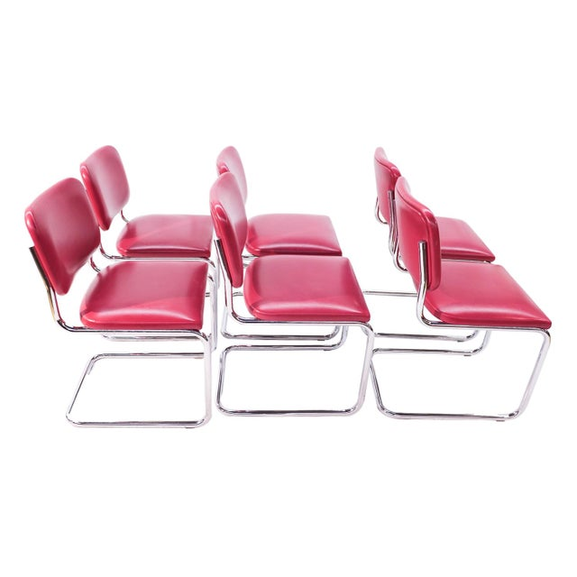 Loewenstein Mid-Century Chrome Cantilever Chairs - Set of 6 - Image 3 of 9