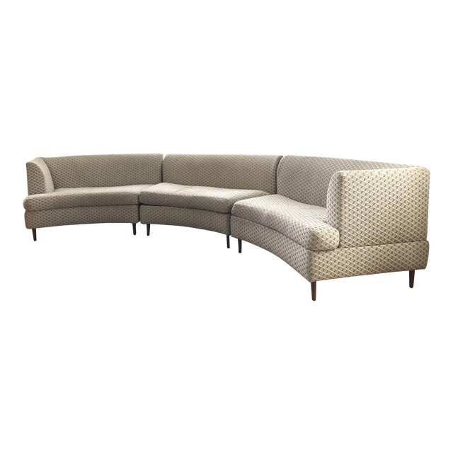 Curved Keller-Williams Vintage Mid Century Sectional Sofa - 3 Pieces For Sale