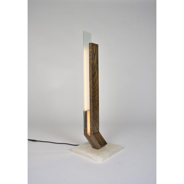 Not Yet Made - Made To Order Offset - Oak Alabaster Base Led Table Lamp For Sale - Image 5 of 5