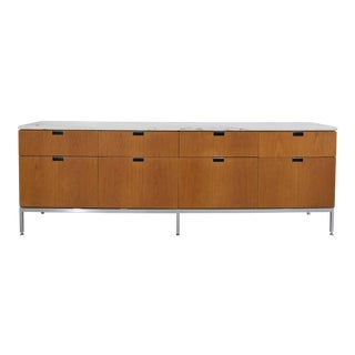 Florence Knoll Credenza in White Oak and Calacutta Marble For Sale