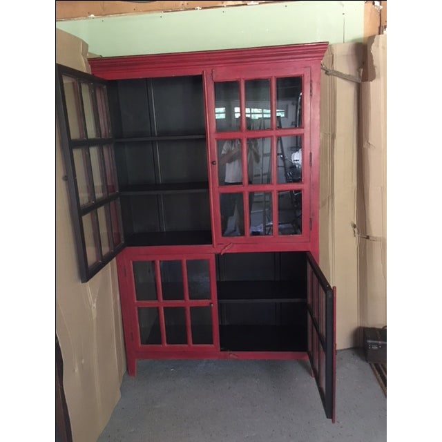 Wooden Red China Cabinet - Image 3 of 5