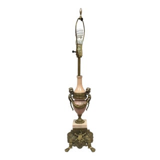 Vintage Italian Pink Marble Brass Cherub Lancini Table Lamp-Limited Time Free Shipping For Sale