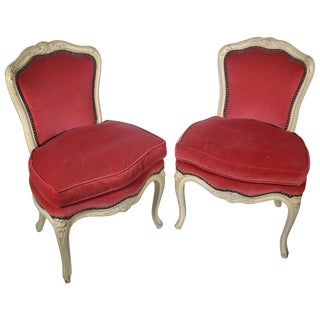 Pair of Louis XV-Style Carved Chairs For Sale