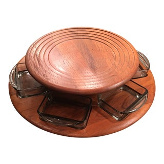 Vintage Digsmed Danish Modern Teak Lazy Susan With Six Glass Dishes For Sale