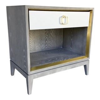 Bungalow 5 Modern Cerused Gray Finished One Drawer Side Table For Sale