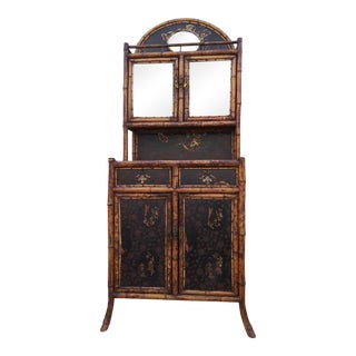 19th Century English Chinoiserie Burnt Bamboo Multi Purpose Cabinet For Sale