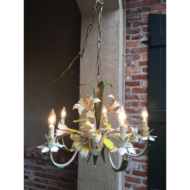 Antique French Tole Flower Polychrome Metal Chandelier For Sale - Image 4 of 10