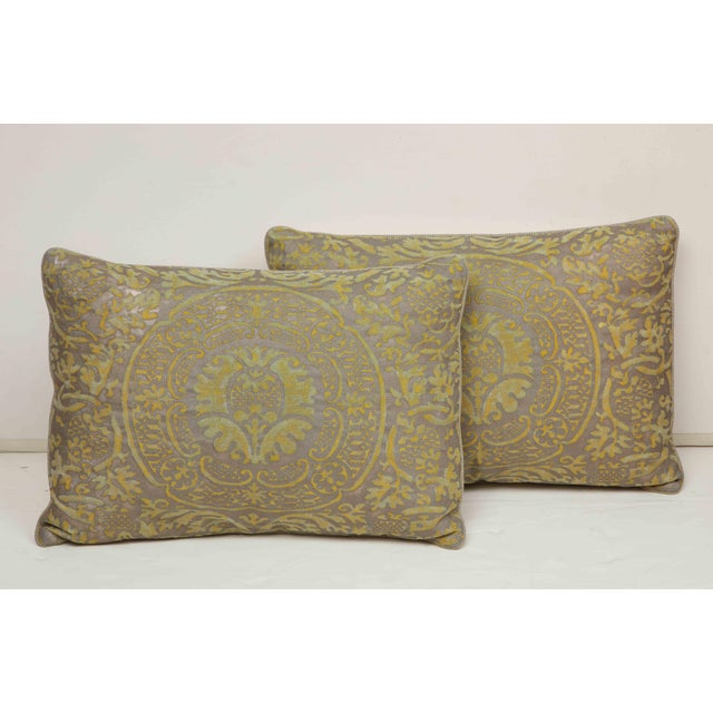 Contemporary Fortuny Pillow in Acid Green and Grey For Sale - Image 3 of 9