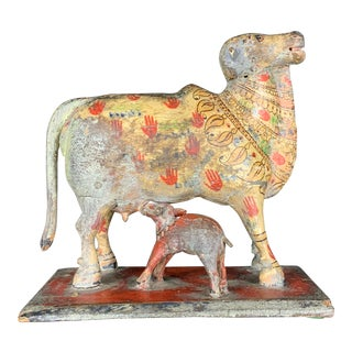 Antique Indian Wood Carving and Hand Painted Cow For Sale