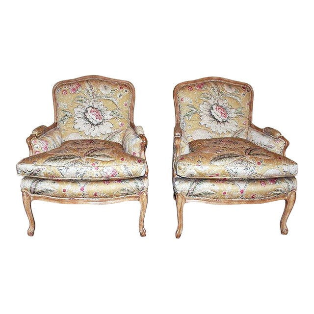 Bleached Bergere Armchairs Pair For Sale