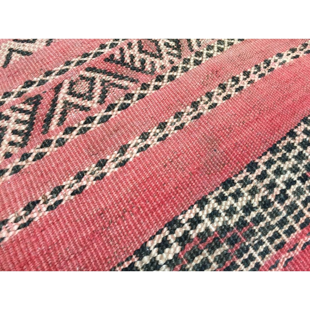 Red Moroccan Floor Pillow Tribal Seat Cushion Made From a Vintage Berber Rug For Sale - Image 8 of 13