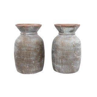 Rustic Earthenware Garden Urns - a Pair For Sale