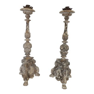 18th Century Italian Carved Wood Pricket Sticks W Iron Candle Holders - a Pair For Sale