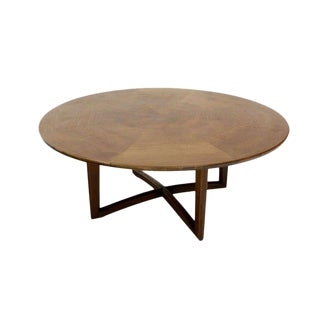 Walnut Coffee Display Center Round Table by Henredon For Sale