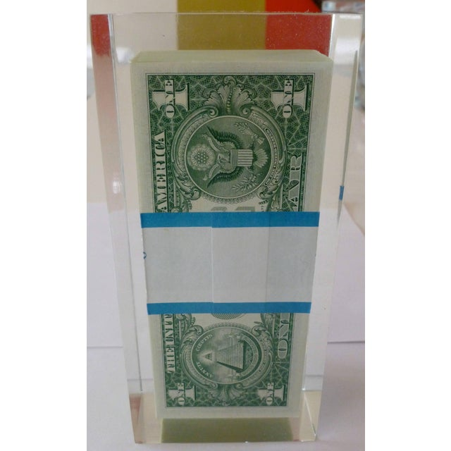 1970s Vintage 100 Dollar Bill Lucite Pop Art Sculpture For Sale In Miami - Image 6 of 11