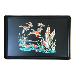 Vintage Mid-Century Paint by Numbers Tole Tray With Ducks