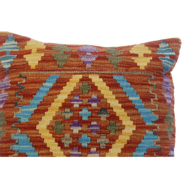 "2010s Chau Rust/Gold Hand-Woven Kilim Throw Pillow(18""x18"") For Sale - Image 5 of 6"