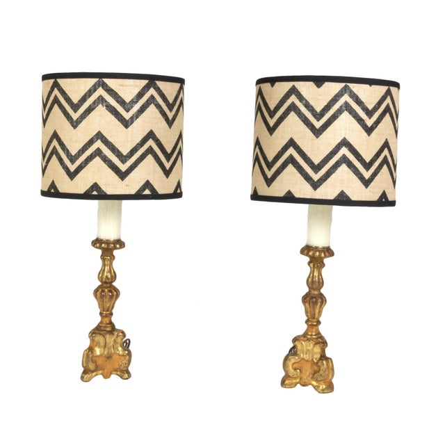 Pair of Small Scale Carved Giltwood Pricket Sticks, French Circa 1780 Mounted and Wired as Table Lamps With Custom Shades. For Sale - Image 13 of 13