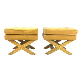 Billy Baldwin Style X Benches - a Pair For Sale